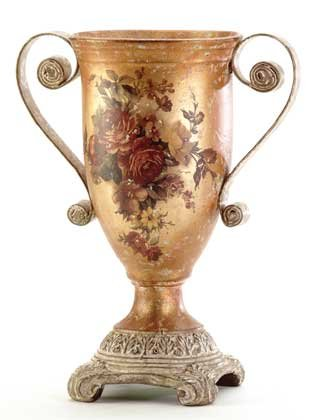 33626 Porcelain Antique-Finish Rose Urn
