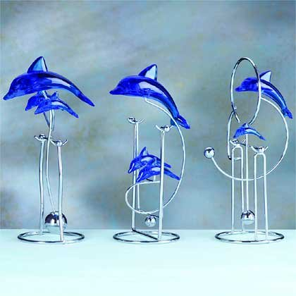 33655 3 Acrylic Dolphin Swinging Sculptures (Retail - 8.95ea.)