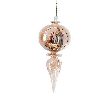 33806 Amber Glass Nativity Xmas Tree Ornament