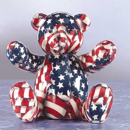33824 American Flag Patchwork Teddy Bear Bank