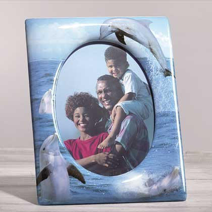 33831 Porcelain Patchwork Dolphin 5x7 Frame