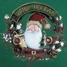 33854 Wood and Metal Santa Wreath