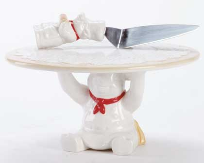 33906 Chef Pig Cake Stand and Server