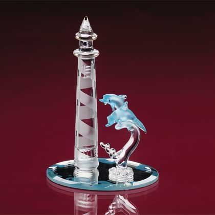 33919 Glass Lighthouse and Dolphins