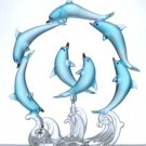 33939 Frosted Blue Glass Dolphins Figurine