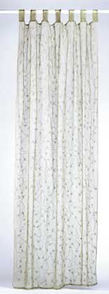 34008 Green Embroidered Curtain