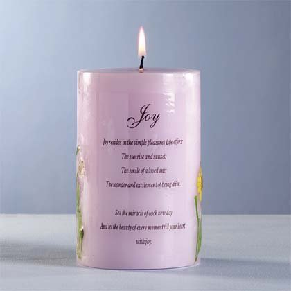 34044 Joy Candle with Dried Flowers
