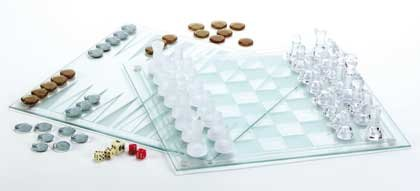 34074 Glass Chess, Checkers and Backgammon Set