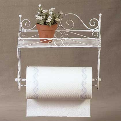 34130 Distressed White Metal Towel Rack and Shelf