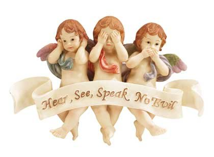 34131 See, Hear, Speak No Evil Cherub Wall Plaque