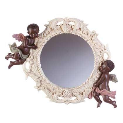 34132 Cherub Wall Mirror with Wicker Pattern