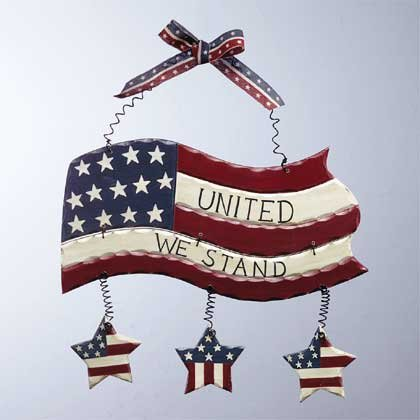 34190 Wood Flag Wall Plaque