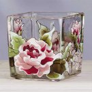 34216 Victorian Rose Square Glass Votive Holder