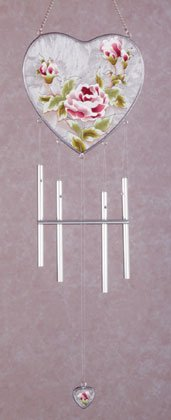 34217 Victorian Rose Heart-Shaped Wind Chime