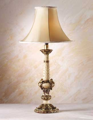 34242 Antique Scroll, Leaf and Wicker Lamp