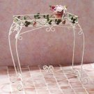 34264 Metal Roses and Leaves Plant Stand