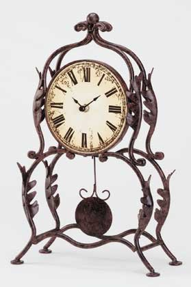 34266 Wrought Iron Leaf Design Desk Clock