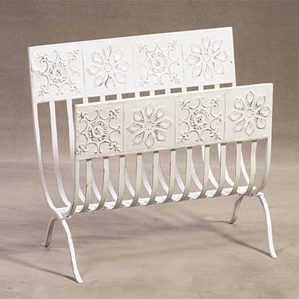 34268 Distressed White Magazine Rack with Tiles