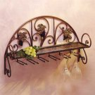 34277 Metal and Grapes Wall Shelf and Wine Glass Holder