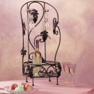 34318 Metal and Grapes Wine Rack and Glass Holder