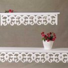34351 Distressed White Carved Wood Shelves