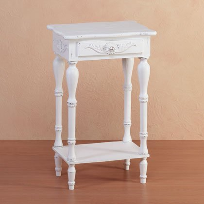 34353 Distressed White Wood Carved Side Table