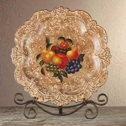 34665 Porcelain Antique-Finish Fruit Design Plate