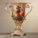 34666 Porcelain Antique-Finish Fruit Design Urn