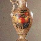 34667 Porcelain Antique-Finish Fruit Design Pitcher