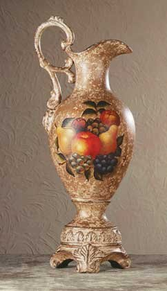 34667 Porcelain Antique-Finish Fruit Design Pitcher