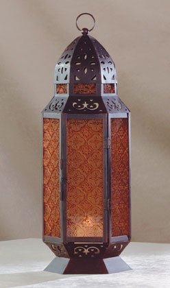 34691 Moroccan Design Amber Glass Candle Lantern