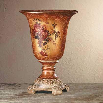 34696 Ceramic Antique-Finish Rose Vase