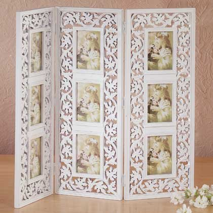 34705 Distressed White Photo Frame Screen