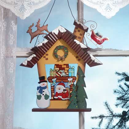 34730 Stained Glass Christmas Wall Plaque