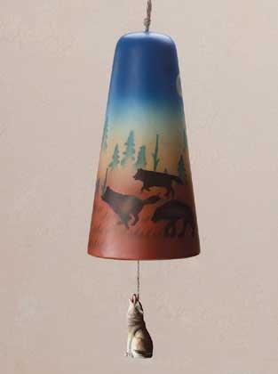 34740 Wolf Design Ceramic Bell