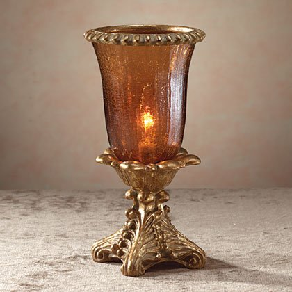 34763 Amber Glass Hurricane Lamp