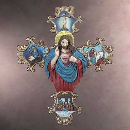 34796 Gold-Plated Life of Jesus Scroll Wall Plaque