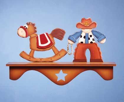 34826 Cowboy and Rocking Horse Wall Shelf