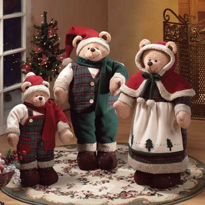 34830 Fabric Christmas Bear Family