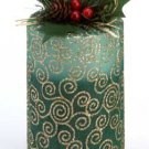 34879 Green Pillar Candle With Decorative Pouch