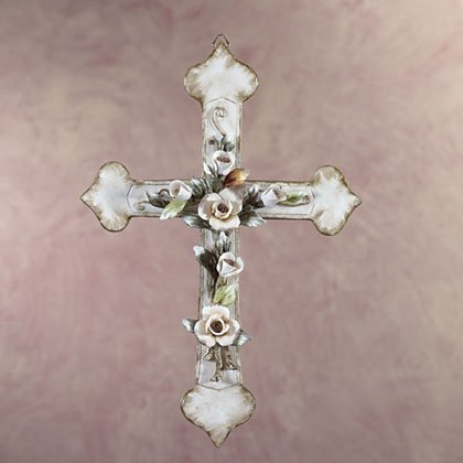 34907 Porcelain Antique-Finish Cross with Roses