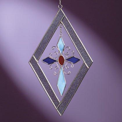 34908 Diamond-Shaped Cross Suncatcher