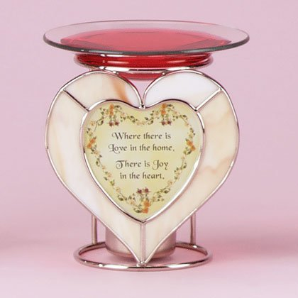 34909 Glass Heart Oil Warmer with Home Sentiment