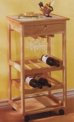 35008 Wood Tile Top Wine Trolley