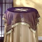 35022 Gold Trim Purple Tablecloth With Tassels