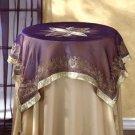 35022 Gold Trim Purple Tablecloth With Tassels