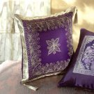 35023 Gold Embroidered Purple Cushion with Tassels