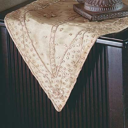 35026 Gold Embroidered Table Runner