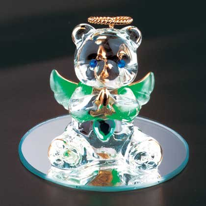 35074 August Glass Angel Bear
