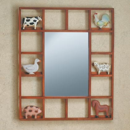 35117 Country Animals Framed Wall Mirror